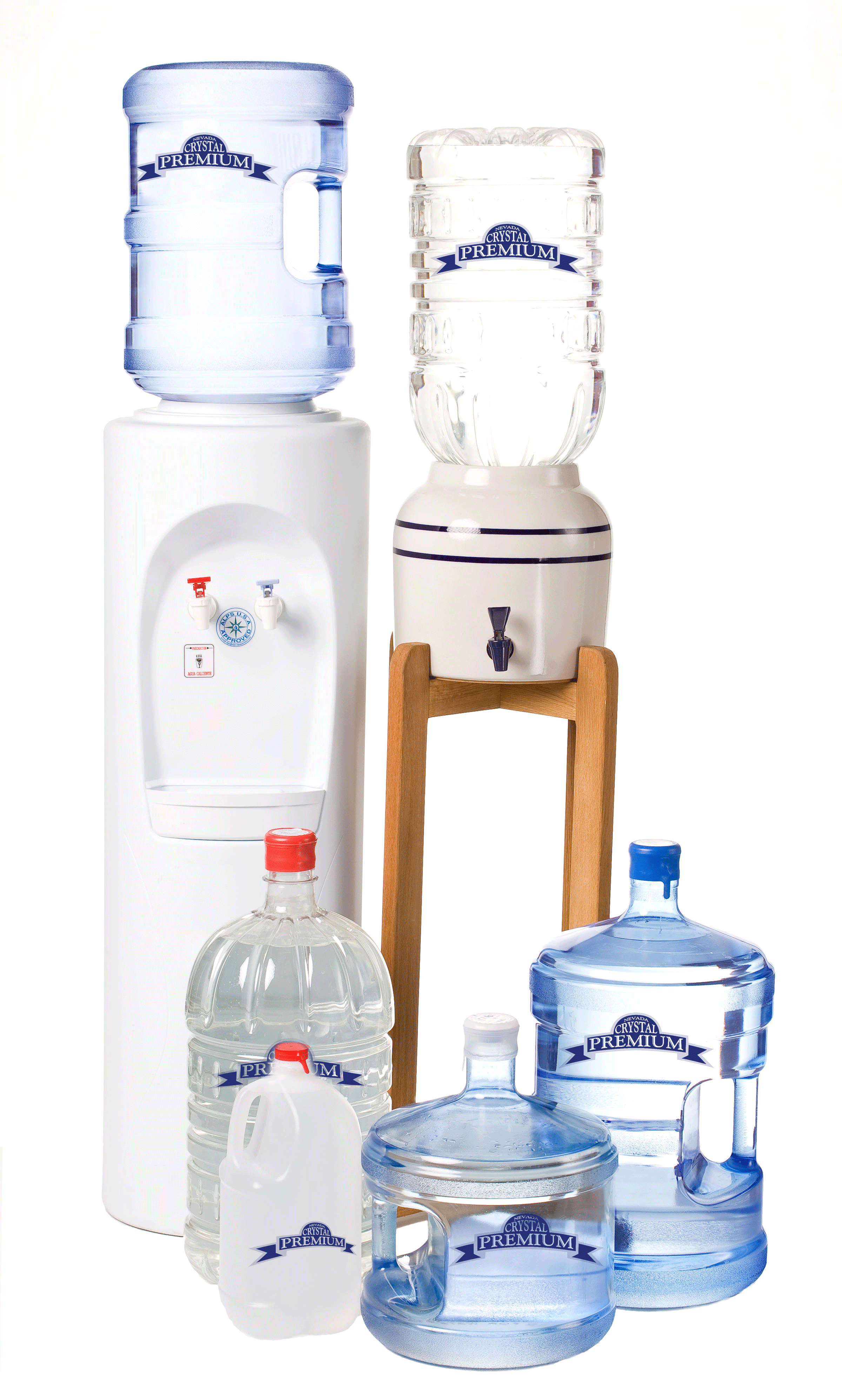 A collection of various bottle sizes and coolers offered by Nevada Crystal Premium water delivery service.