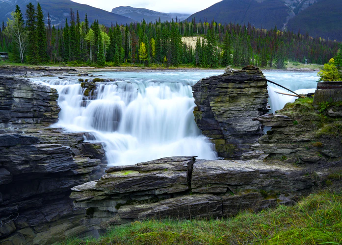 waterfall forest river lake wild landscape nature